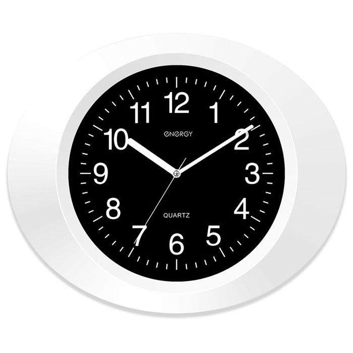 Energy ЕС-05, White Black настенные часы54 009305Настенные кварцевые часы с плавным ходом Energy ЕС-05 имеют классический строгий дизайн и поэтому подойдут как для дома, так и для офиса. Крупные цифры белого цвета отлично различимы в условиях плохого освещения. Питание осуществляется от 1 батарейки типа АА (в комплект не входит).