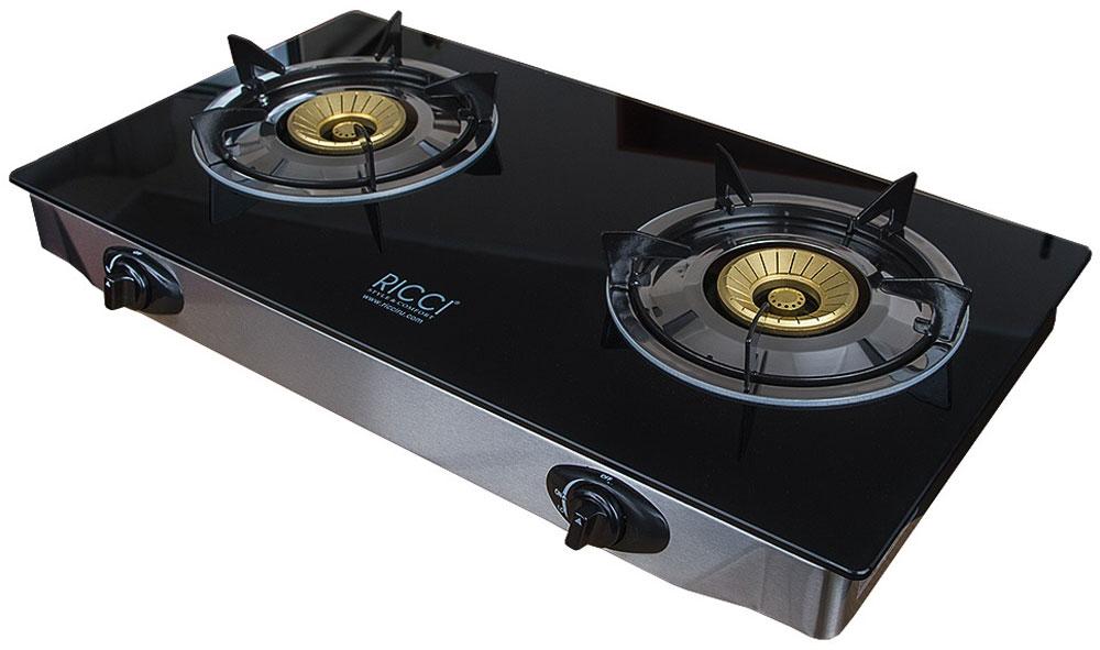 Ricci RGH-712, Black настольная плита17 RGH-712Ricci RGH-712 - газовая плитка, обладающая элегантным дизайном и оснащенная двумя конфорками разного диаметра, позволяющими одновременно готовить два блюда. Ее корпус выполнен из нержавеющей стали, для оформления рабочей поверхности использована прочная и не требующая сложного ухода стеклокерамика. Прибор предназначен для установки на столе, источником сжиженного газа для плитки является баллон. Управление устройством — механическое, осуществляется с помощью поворотных переключателей, а пламя зажигается пьезоподжигом. Благодаря небольшим размерам и малому весу газовую плитку Ricci RGH-712 можно без особых сложностей перемещать с места на место, а также увезти за город, на дачу. Она отличается надежностью, безопасностью, простотой обслуживания. Кроме того, данная плитка идеально подходит для приготовления пищи в казанах и воках. Номинальное давление - 2900 Па