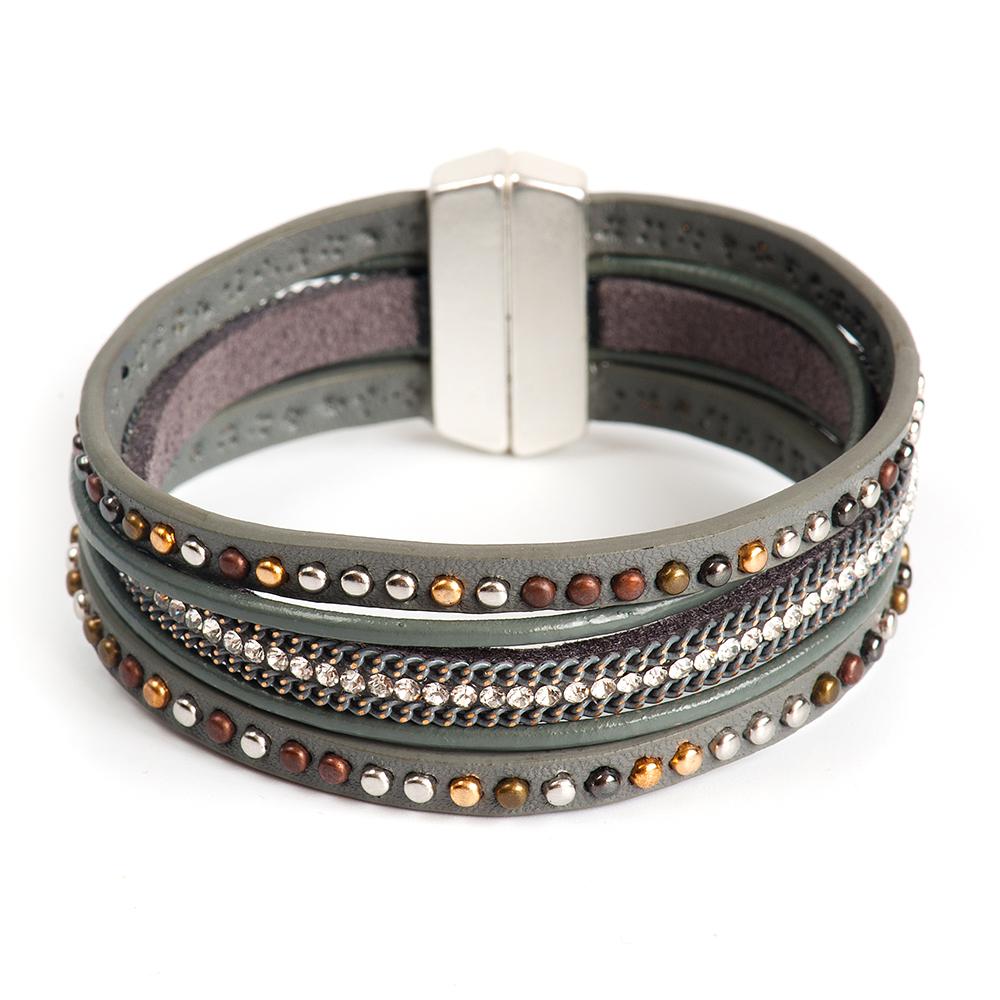 Браслет Selena, цвет: серый. 4006165040061650Латунь, кристаллы Preciosa. Гальваническое покрытие: матовый родий., длина браслета 20 см ширина 3 см