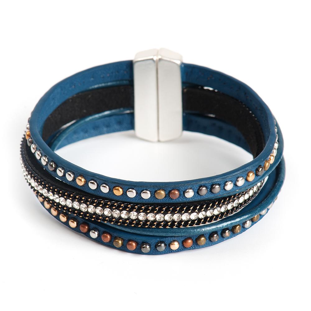 Браслет Selena, цвет: синий. 4006166040061660Латунь, кристаллы Preciosa. Гальваническое покрытие: матовый родий., длина браслета 20 см ширина 3 см