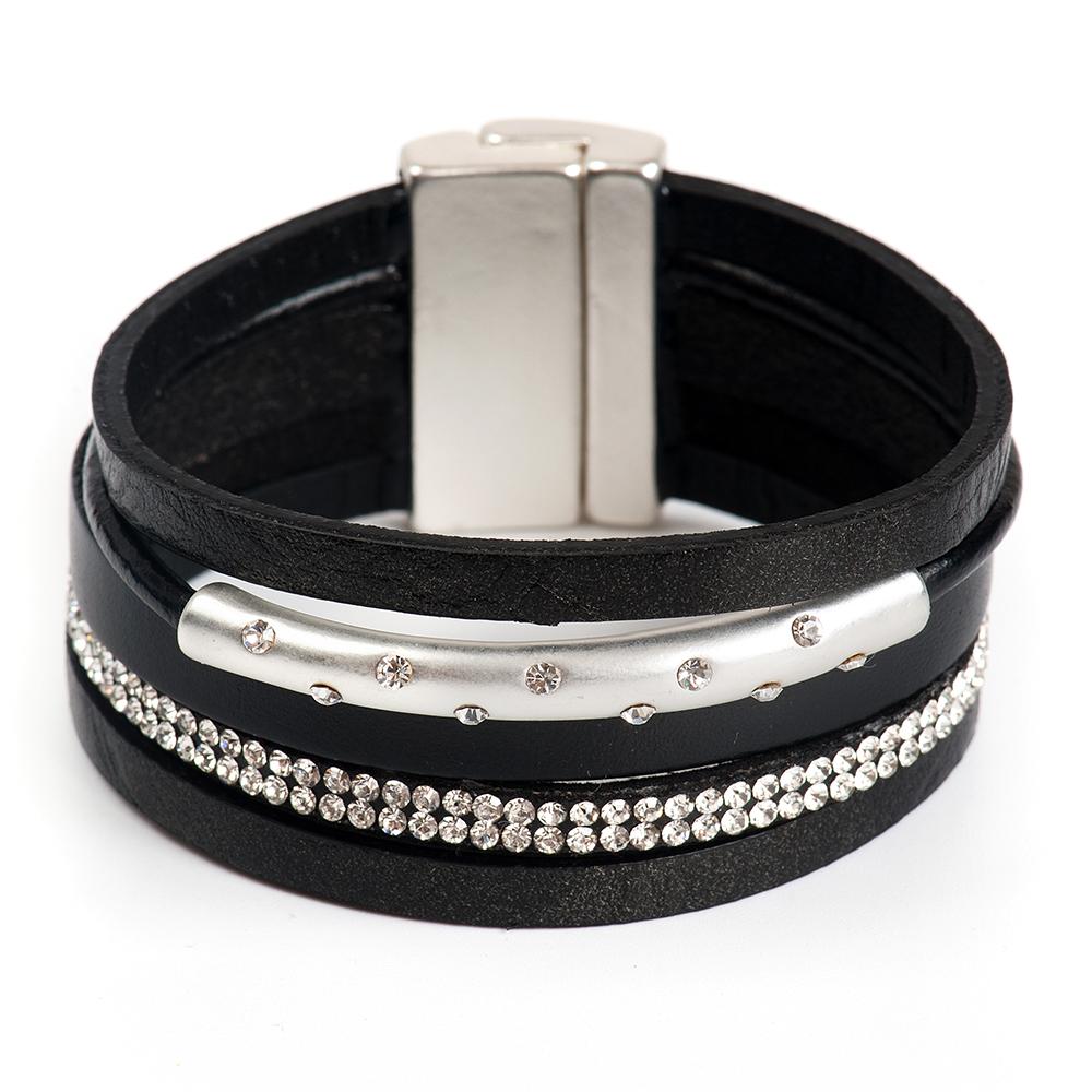 Браслет Selena, цвет: серебристый, черный. 4006167040061670Латунь, кристаллы Preciosa. Гальваническое покрытие: матовый родий., длина браслета 20 см ширина 4 см