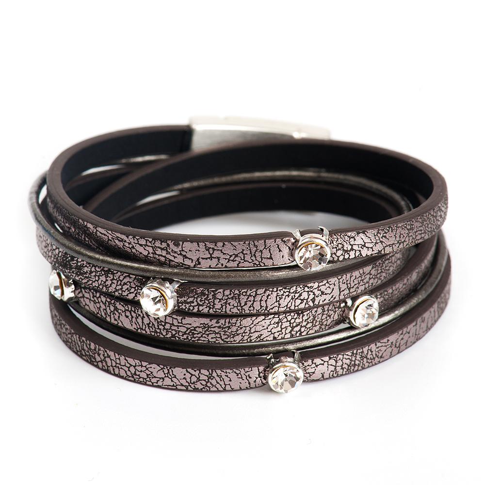 Браслет Selena, цвет: серый. 4006175040061750Латунь, кристаллы Preciosa. Гальваническое покрытие: матовый родий., длина браслета 39 см ширина 3 см