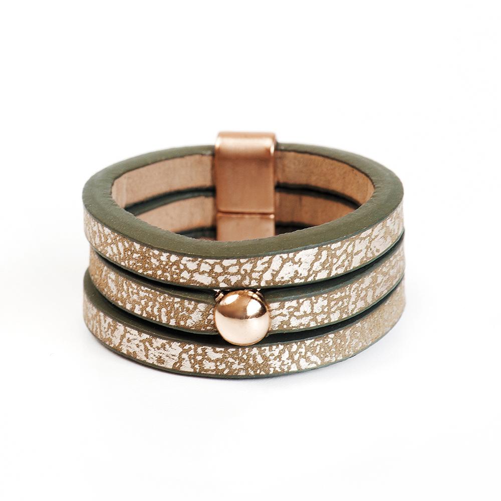 Кольцо Selena, цвет: золотистый, коричневый. 60026297. Размер 1760026297Натуральная кожа, латунь. Гальваническое покрытие матовое золото., размер Кольцо 17