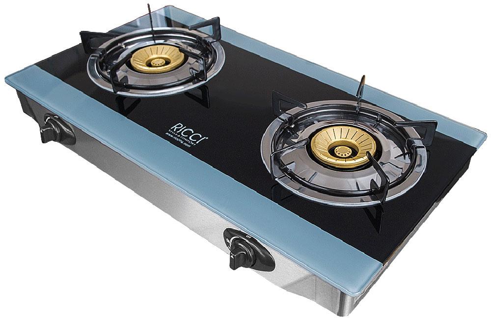 Ricci RGH-604B, Blue Black настольная плита17 RGH-604BRicci RGH-604B - газовая плитка, обладающая элегантным дизайном и оснащенная двумя конфорками разного диаметра, позволяющими одновременно готовить два блюда. Ее корпус выполнен из нержавеющей стали, для оформления рабочей поверхности использована прочная и не требующая сложного ухода стеклокерамика. Прибор предназначен для установки на столе, источником сжиженного газа для плитки является баллон. Управление устройством - механическое, осуществляется с помощью поворотных переключателей, а пламя зажигается пьезоподжигом. Благодаря небольшим размерам и малому весу газовую плитку можно без особых сложностей перемещать с места на место, а также увезти за город, на дачу. Она отличается надежностью, безопасностью, простотой обслуживания. Номинальное давление - 2900 Па