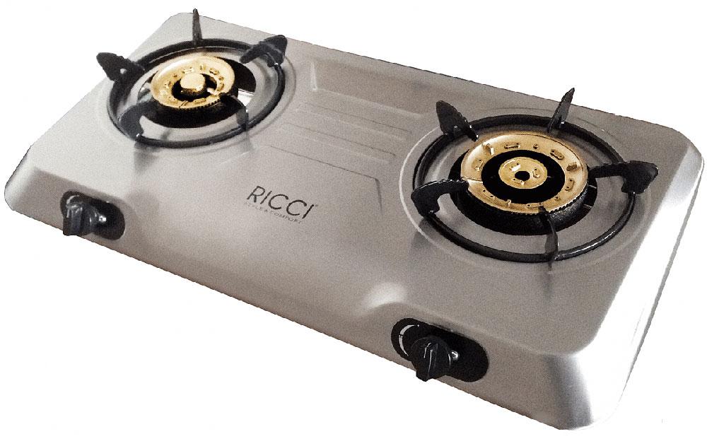 Ricci RGH-702C, Silver настольная плита17 RGH-702CГазовая плитка Ricci RGH-702C - стильный современный бытовой прибор для приготовления пищи, очень компактный и мобильный. Он имеет две конфорки, благодаря чему владелец может одновременно готовить или разогревать два блюда или кипятить чайник. Корпус плиты изготовлен из нержавеющей стали, горелки выполнены из латуни имеют разный диаметр. Устройство работает от баллонного газа (в качестве топлива используется пропан-бутан), чтобы зажечь пламя, достаточно воспользоваться пьезоподжигом. Функция Малое пламя, которой оборудована Ricci RGH-702C, позволяет убавить огонь для того, чтобы подогреть еду, или в тех случаях, когда блюдо нужно готовить при минимальной температуре. Кроме того, данная плитка идеально подходит для приготовления пищи в казанах и воках. Номинальное давление: 2900 Па Материал горелок: латунь Пьезоподжиг Ручки: пластик Размер горелок: левая - 100 мм, правая - 120 мм Эмалированные решетки