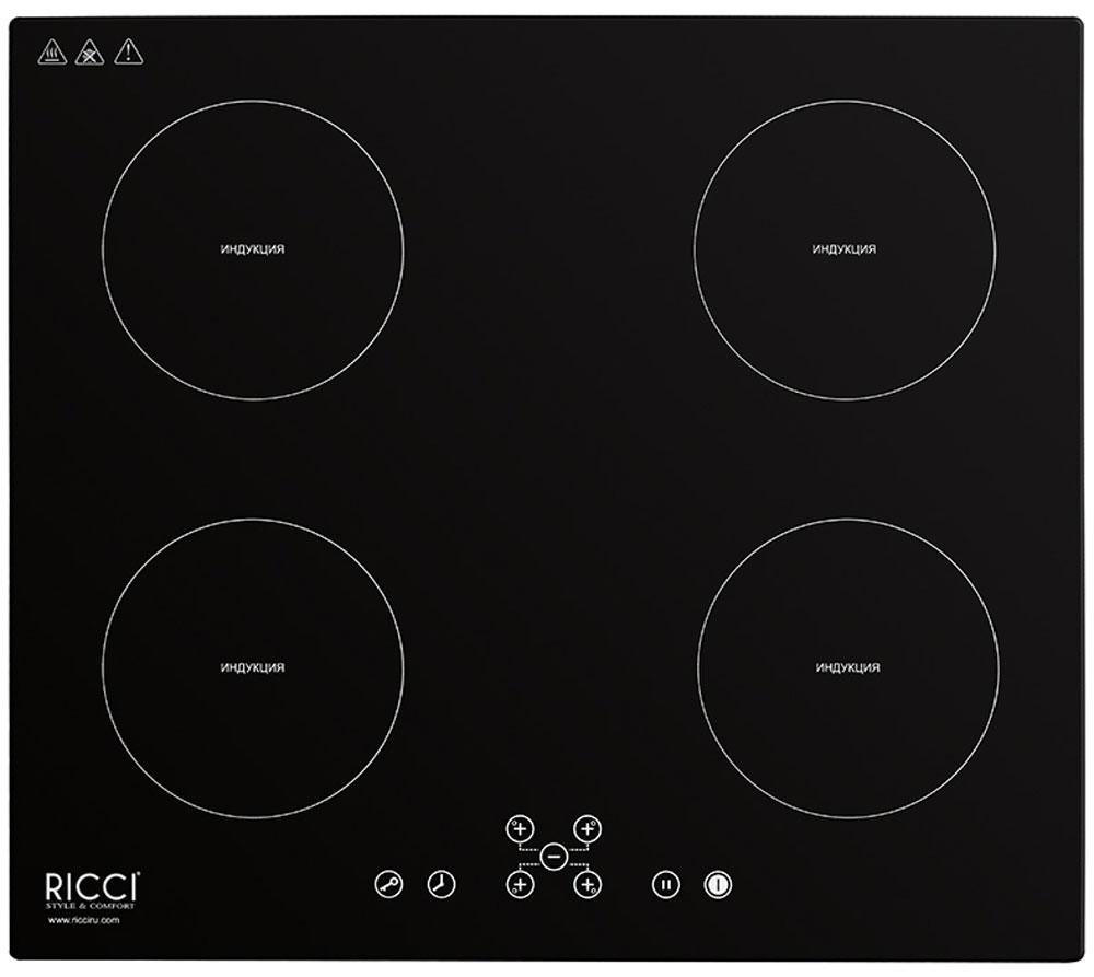 Ricci RIH-7001, Black индукционная варочная панель72 RIH-7001Ricci RIH-7001 - индукционная варочная панель, которая занимает главное место на любой кухне. Надежная стеклокерамическая поверхность черного цвета, органично впишется в любой интерьер, а также удивит вас простотой очистки. Панель имеет индукционные 4 конфорки разной мощности и диаметра, которые отличаются высокой скоростью нагрева, энергоэффективностью и надежностью. Кроме того конфорки оснащены индикацией остаточного тепла и функцией защитного отключения. Удобная панель управления сенсорного типа располагается спереди и обеспечивает тонкую настройку мощности нагрева каждой конфорки. При необходимости можно заблокировать всю панель при помощи кнопки защита от детей. Мощность конфорок: 2 зоны 2000 Вт + 2 зоны 1500 Вт Диаметр конфорок: 140 мм; 180 мм; 140 мм; 180 мм
