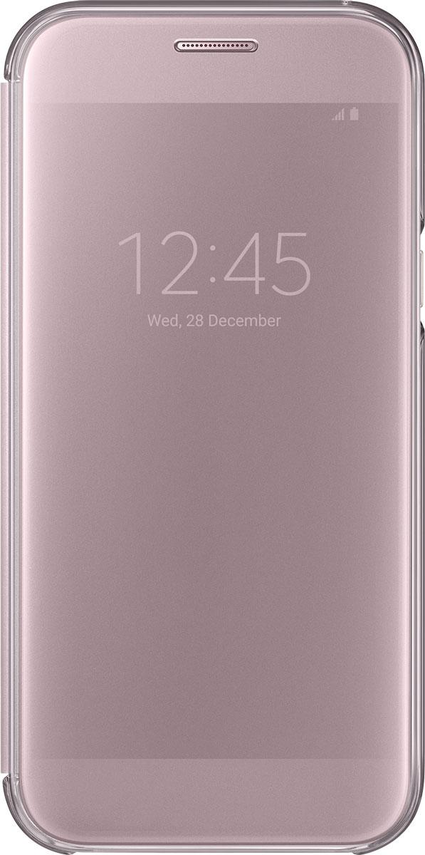 Samsung EF-ZA520 ClearView чехол для Galaxy A5 (2017), PinkEF-ZA520CPEGRUSamsung ClearView, созданный специально для модели смартфона Galaxy A5 2017, позволяет идти в ногу со временем и является одной из разновидностей умных чехлов. Чехол надежно защищает смартфон со всех сторон, включая экран, от царапин, пыли и повреждений. При этом защиту экрана обеспечивает прозрачная крышка из оргстекла, покрытого лаком. Она настолько функциональна, что сквозь нее виден весь дисплей целиком. Так вы всегда будете в курсе происходящего: новостей, времени, погоды, входящих сообщений и уведомлений. Чехол на страже вашего времени - при звонке не нужно открывать чехол - прозрачная лаковая поверхность чехла реагирует на прикосновения и позволяет вам ответить на важные звонки, не открывая крышки смартфона.