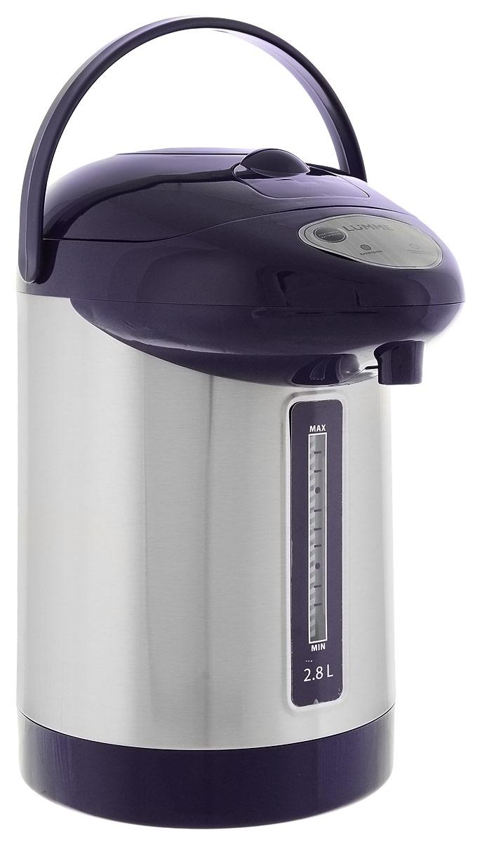 Lumme LU-295, Dark Blue термопотLU-2952,8-литровый термопот Lumme LU-295 с ручным насосом для безопасной подачи кипятка. Два режима работы – автокипячение и поддержание температуры позволяют использовать термопот с наименьшими энергозатратами, при этом теплая вода или кипяток остаются всегда под рукой. Благодаря корпусу из высококачественной пищевой нержавеющей стали и закрытому нагревательному элементу термопот обладает значительной прочностью и экологически чист - нержавеющая сталь не имеет запаха и сохраняет природные натуральные свойства воды. Шкала уровня воды на корпусе позволяет легко определить необходимость наполнения термопота водой, а LED-индикаторы режимов работы – проконтролировать его состояние. Термопот оснащен такими функциями безопасности как автоматическое отключение при закипании и отключение при недостаточном количестве воды. Плоское дно термопота с закрытым нагревательным элементом очень функционально – легко моется, противостоит накипи,...