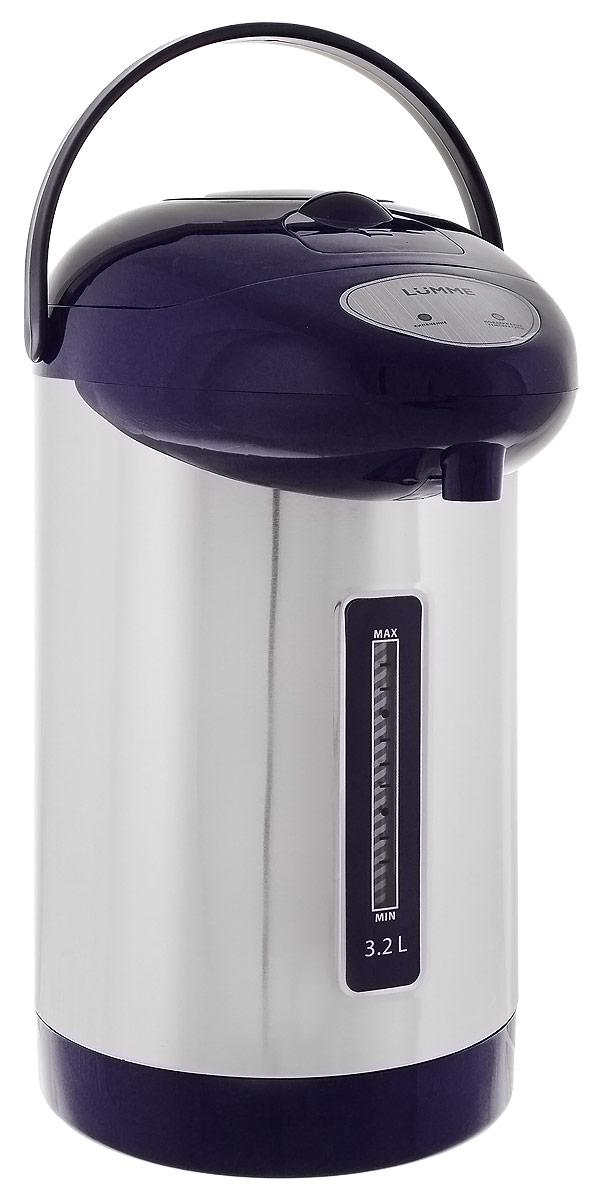Lumme LU-298, Dark Blue термопотLU-2983,2-литровый термопот Lumme LU-298 с ручным насосом для безопасной подачи кипятка и функцией повторного кипячения. Два режима работы – автокипячение и поддержание температуры позволяют использовать термопот с наименьшими энергозатратами, при этом теплая вода или кипяток остаются всегда под рукой. Благодаря корпусу из высококачественной пищевой нержавеющей стали и закрытому нагревательному элементу термопот обладает значительной прочностью и экологически чист - нержавеющая сталь не имеет запаха и сохраняет природные натуральные свойства воды. Шкала уровня воды на корпусе позволяет легко определить необходимость наполнения термопота водой, а LED-индикаторы режимов работы – проконтролировать его состояние. Термопот оснащен такими функциями безопасности как автоматическое отключение при закипании и отключение при недостаточном количестве воды. Плоское дно термопота с закрытым нагревательным элементом очень функционально – легко моется,...