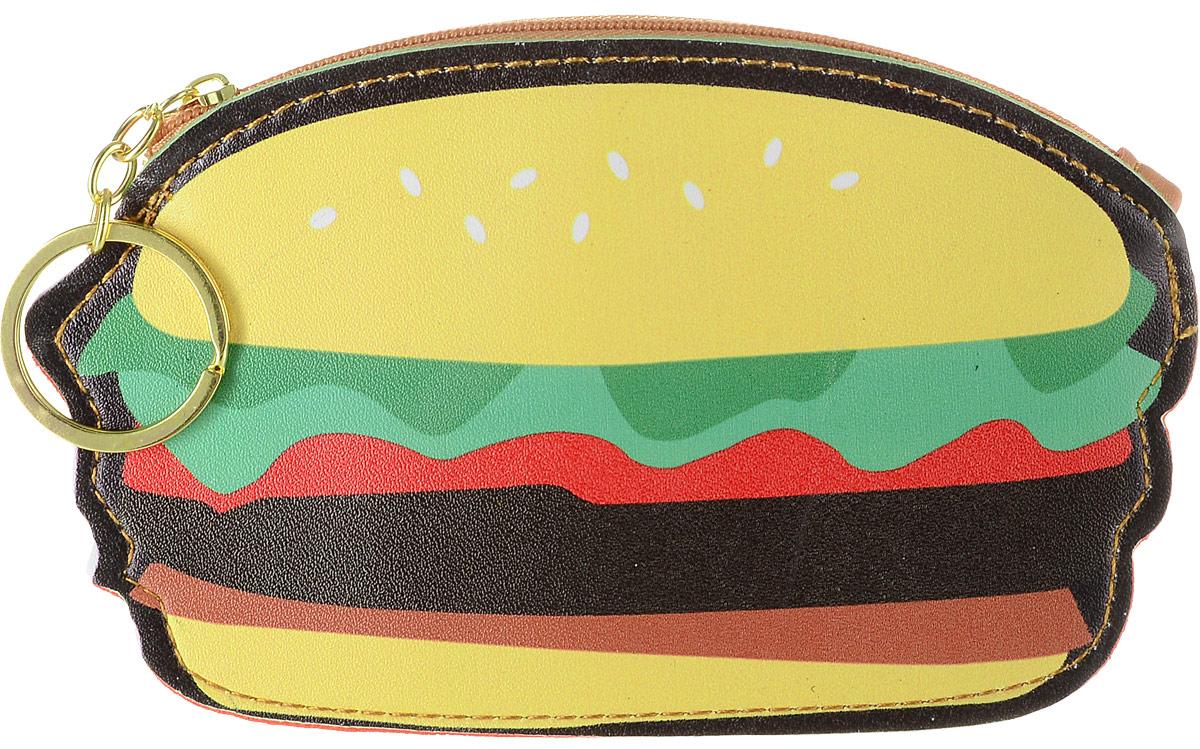 Брелок-кошелек Kawaii Factory Гамбургер, цвет: оранжевый, черный. KW001-000024KW001-000024Застежка-молния, бегунок с колечком для ключей