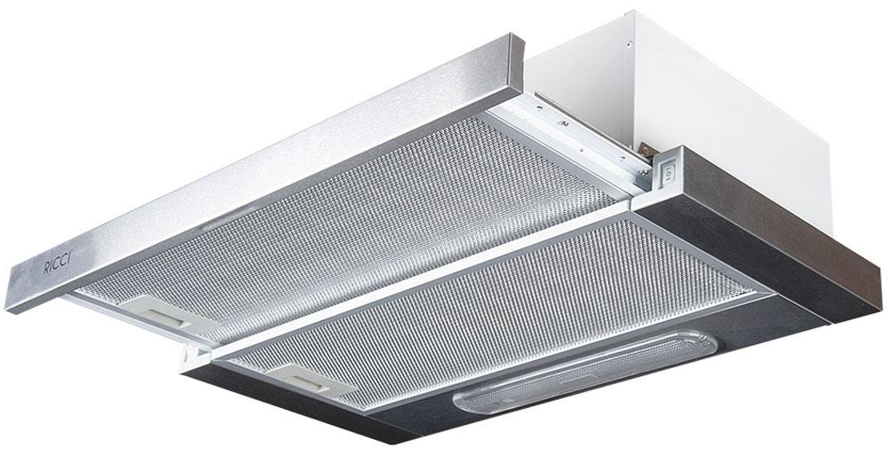 Ricci RRH-0360-S вытяжкаRICCI RRH-0360-SВытяжка Ricci RRH-0360-S поможет вам эффективно решить проблему очистки воздуха. Она осуществляет работу в режимах отвода или рециркуляции воздуха. Вытяжка сочетает в себе качество, функциональность и элегантный дизайн, что делает ее отличным дополнением для вашей кухни. Пятислойный алюминиевый фильтр предназначен для защиты двигателя, вентиляторов и отводящих труб от скопления мельчайших частичек жира, попадающих в в воздух во время приготовления пищи. 2 скорости работы 2 лампы по 40 Вт Воздуховод: 120 мм