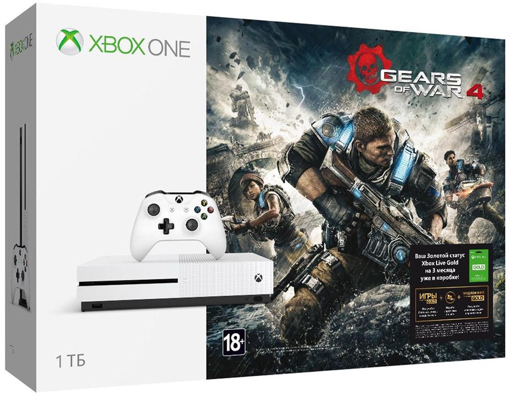 Игровая приставка Xbox One S 1 ТБ + Gears of War 4234-00013Игровая приставка Xbox One S - единственная консоль с 4K-плеером Blu-Ray, потоковым видео с разрешением 4K и функцией расширенного динамического диапазона (HDR). Играйте в лучшую линейку игр, включая классические игры с Xbox 360, на консоли, которая компактнее на 40%. Не обманывайтесь ее размером, благодаря встроенному блоку питания и жесткому диску емкостью до 1 ТБ консоль Xbox One S - самая продвинутая из всех Xbox на сегодняшний день! Наслаждайтесь более насыщенными и яркими цветами в таких играх, как Gears of War 4 и Forza Horizon 3. Технология расширенного динамического диапазона повышает контраст между светлыми и темными участками изображения, представляя игры во всем их великолепии! Разрешение 4K Ultra HD в четыре раза превышает стандартное разрешение HD, обеспечивая максимально четкое и реалистичное отображение. Смотрите потоковое видео в формате 4k из Netflix и Amazon Video, а также фильмы на дисках Ultra HD...