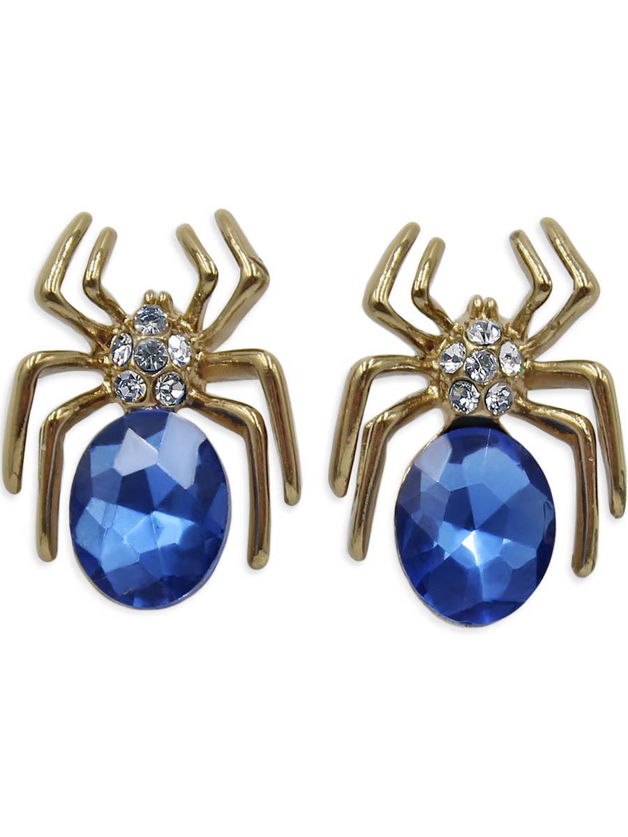 Серьги Taya, цвет: золотистый. T-B-12344T-B-12344-EARR-GL.D.BLUEПаучки с синим кристаллом и золотыми лапками выглядят очень натурально. Серьги-гвоздики с заглушкой металл-пластик.