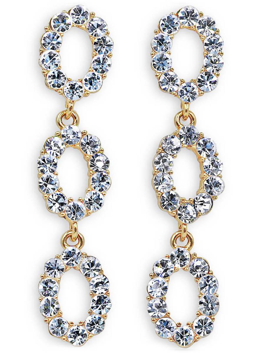 Серьги Taya, цвет: золотистый. T-B-12348T-B-12348-EARR-GOLDСерьги-гвоздики с заглушкой металл-пластик. Серьги словно собраны из кристаллов, настолько они крупные, блестящие, просто идеальные. Размеры: длина 6,7 см, ширина 1,4 см.