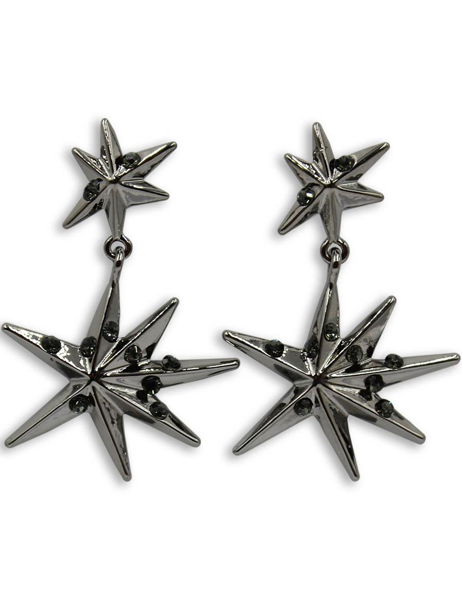 Серьги Taya, цвет: хематит. T-B-12366T-B-12366-EARR-HEMATITEСерьги-гвоздики с заглушкой металл-пластик изготовлены из бижутерного сплава. Две звезды с лучами разной длины и стразами соединены между собой. Звездочки объемные и подвижные.