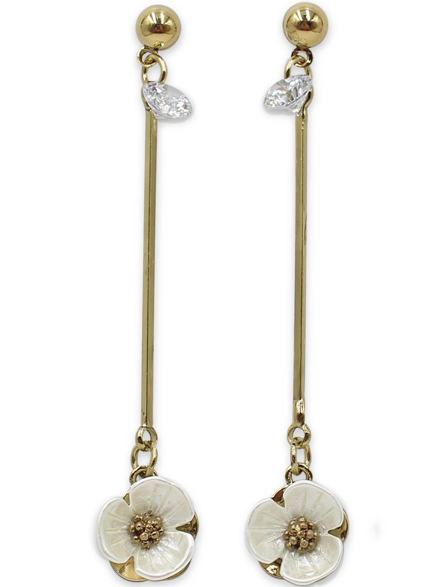 Серьги Taya, цвет: золотистый, перламутровый. T-B-12374T-B-12374-EARR-GL.PEARLСерьги-гвоздики с заглушкой металл-пластик изготовлены из бижутерного сплава. Столбик сережек украшен конусовидным кристаллом, цветок на тарелочке выполнен из натурального перламутра, он нежный и бархатный.