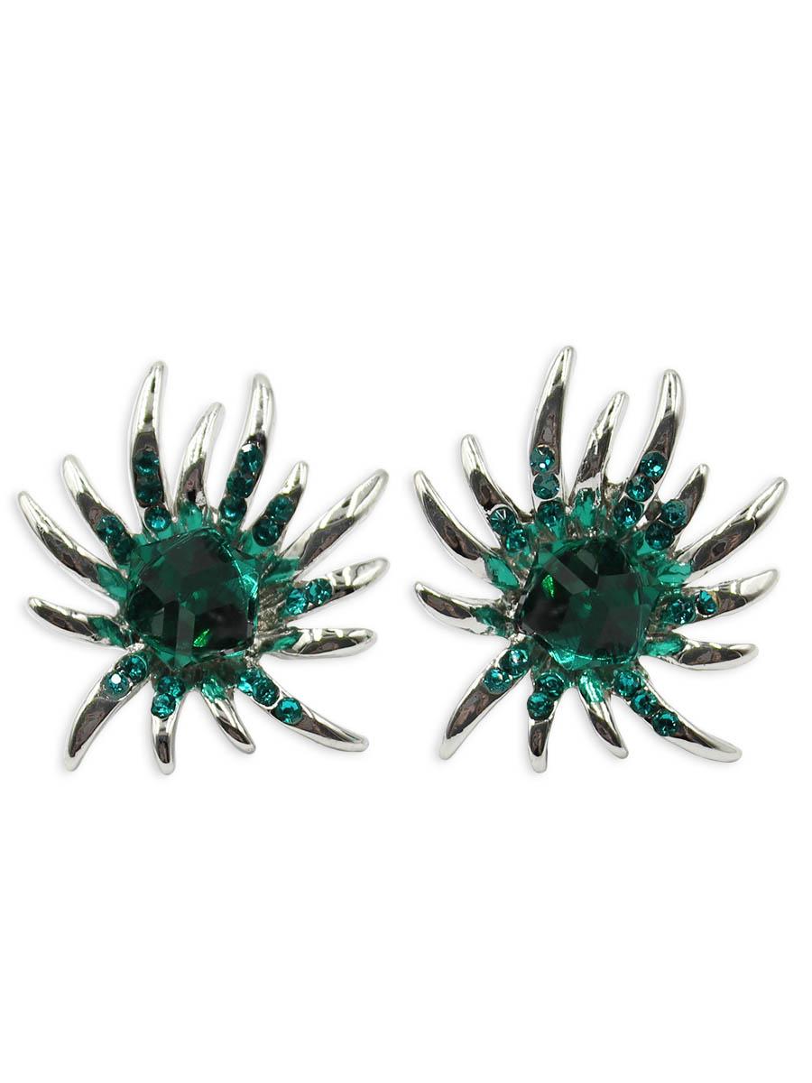 Серьги Taya, цвет: серебристый, изумрудный. T-B-12375T-B-12375-EARR-SL.EMERALDСерьги-гвоздики с заглушкой металл-пластик изготовлены из бижутерного сплава. Оригинальные серьги выполнены в форме круга с лучиками. Середина украшена изумрудными камнями.