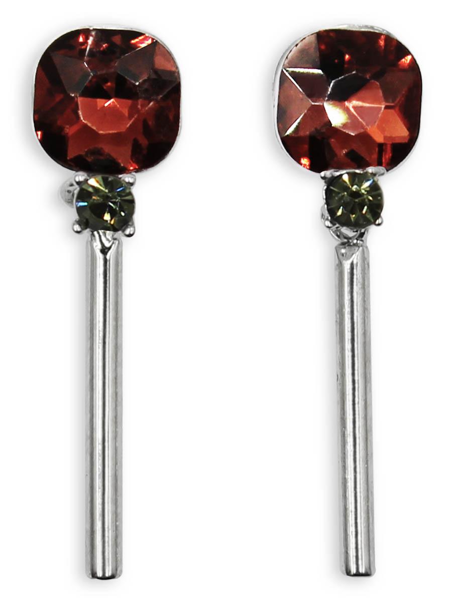 Серьги Taya, цвет: серебристый, бордовый. T-B-12387T-B-12387-EARR-SL.BURGUNDYСерьги-гвоздики с заглушкой металл-пластик изготовлены из бижутерного сплава. Мочку уха закрывает кристалл изысканного цвета. Низ сережек украшает серебряный столбик.