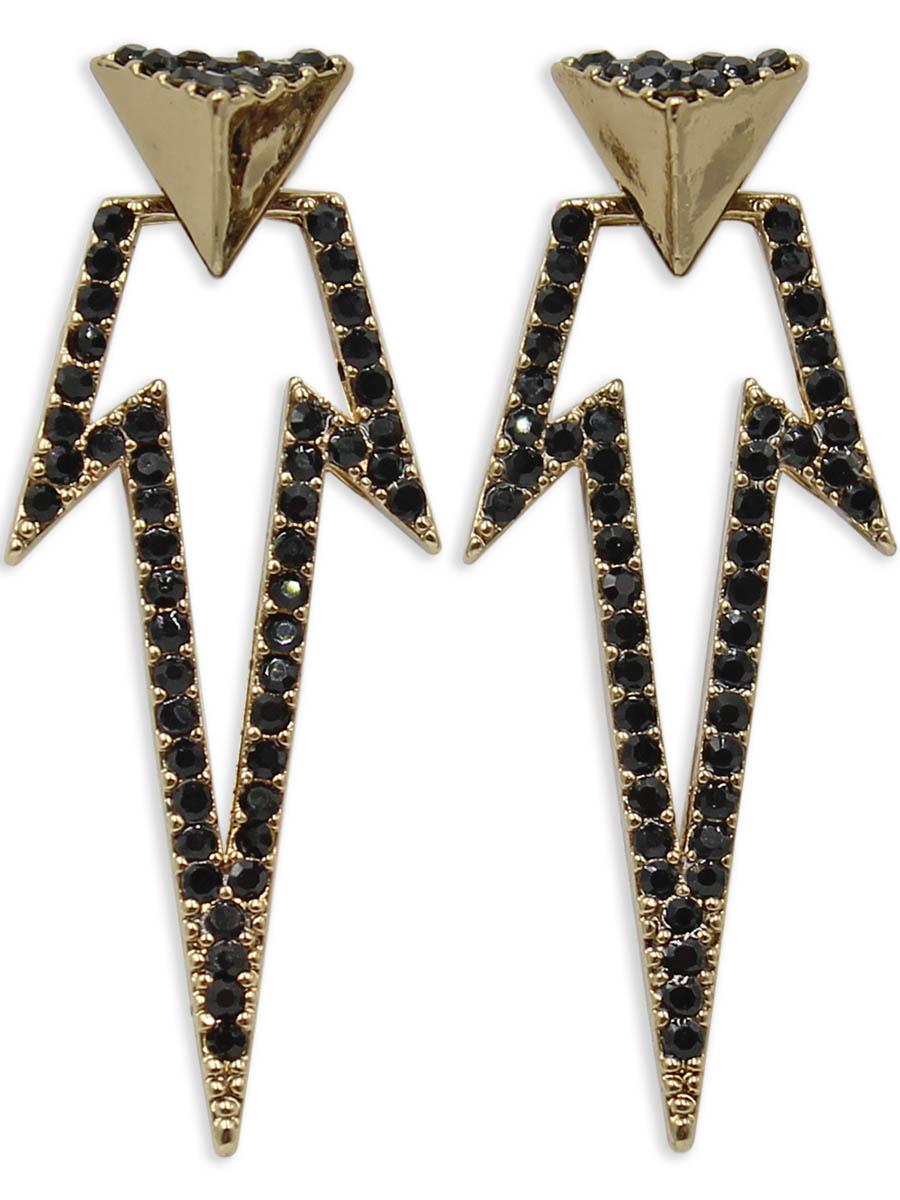 Серьги Taya, цвет: черный, золотистый. T-B-12399T-B-12399-EARR-BK.GOLDСерьги-гвоздики с заглушкой металл-пластик изготовлены из бижутерного сплава. Сделаны из двух частей: пирамиды, которую можно носить самостоятельно и треугольной подвески в виде молнии, которая одевается на штифт. Серьги оформлены сверкающими стразами.
