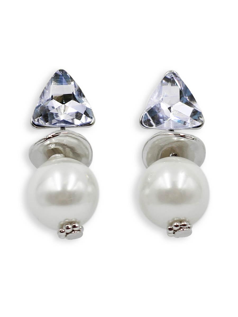 Серьги Taya, цвет: серебристый, перламутровый. T-B-12402T-B-12402-EARR-SL.PEARLСерьги-гвоздики с заглушкой металл-пластик. Состоят из трех подвижных частей: кристалла, серебряной пластины выпуклой формы и чудесной жемчужины. Все части словно нанизаны друг за другом. Размеры: длина серьги 2,6 см, ширина 1,0 см