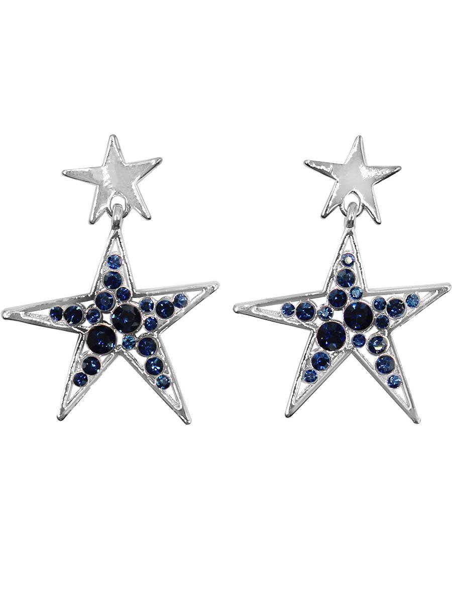 Серьги Taya, цвет: серебристый, темно-синий. T-B-12408T-B-12408-EARR-SL.D.BLUEСерьги-гвоздики с заглушкой металл-пластик изготовлены из бижутерного сплава. Сережки выполнены в форме звездочки, которая оформлена инкрустацией из страз.