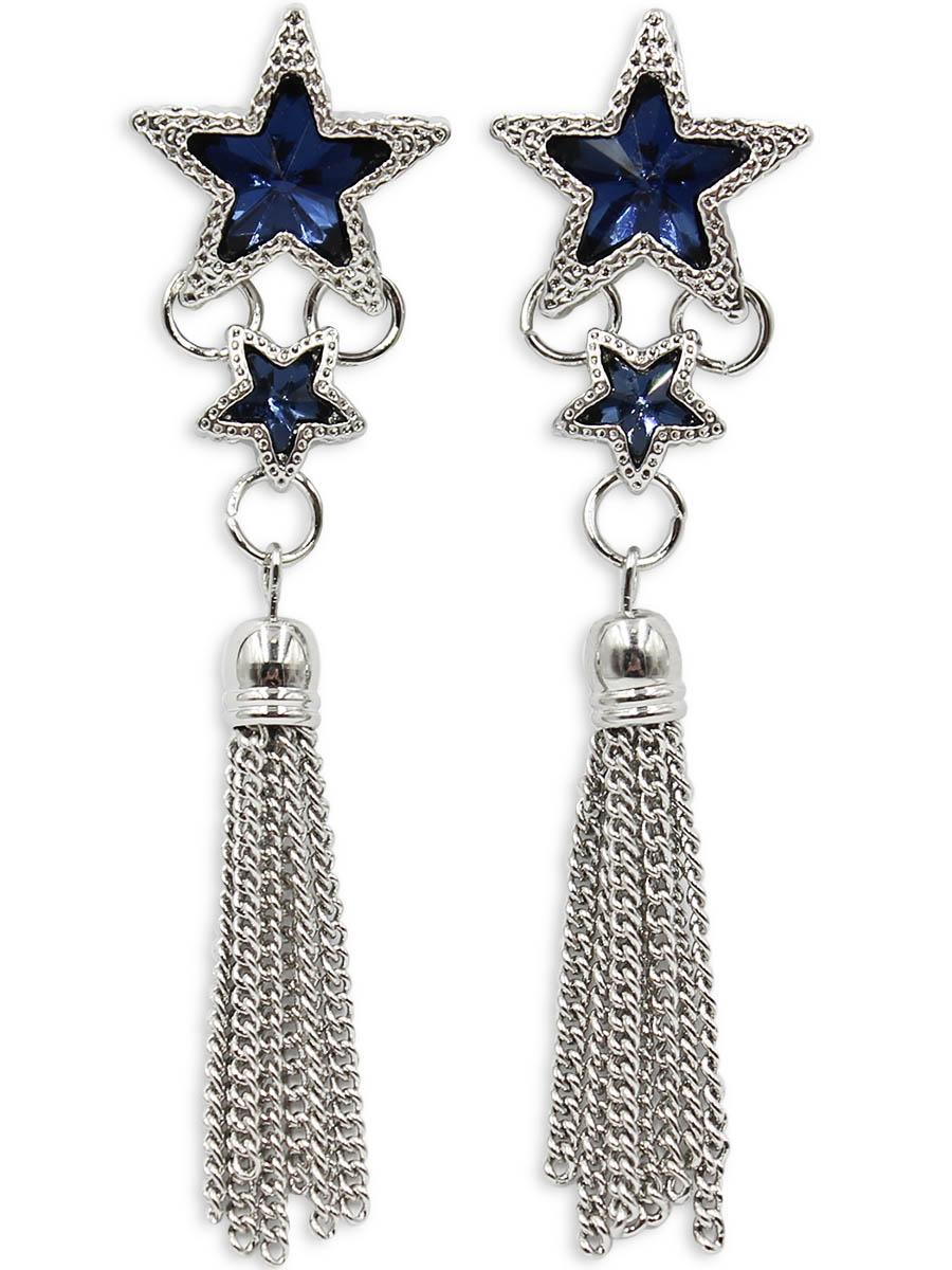 Серьги Taya, цвет: серебристый, темно-синий. T-B-12409T-B-12409-EARR-SL.D.BLUEСерьги-гвоздики с заглушкой металл-пластик изготовлены из бижутерного сплава. Верх сережек, выполненный в виде двух звездочек, дополнен стильной кисточкой из цепочек.