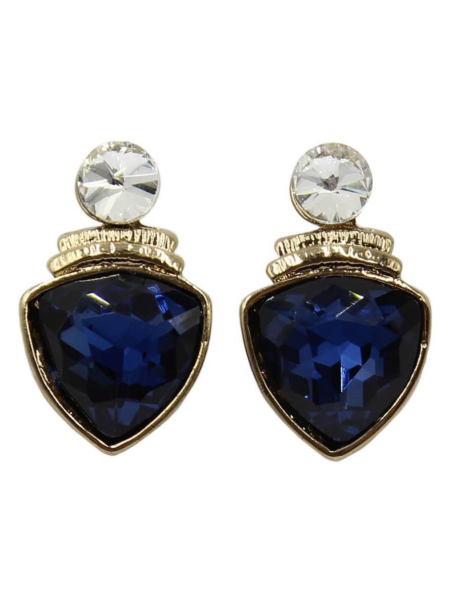 Серьги Taya, цвет: золотистый, темно-синий. T-B-12415T-B-12415-EARR-GL.D.BLUEСерьги-гвоздики с заглушкой металл-пластик изготовлены из бижутерного сплава. Крупный прозрачный кристалл закрывает прокол в мочке уха. Ниже расположен ромб с кристаллом. Легкие удобные универсальные сережки на каждый день к любому наряду.