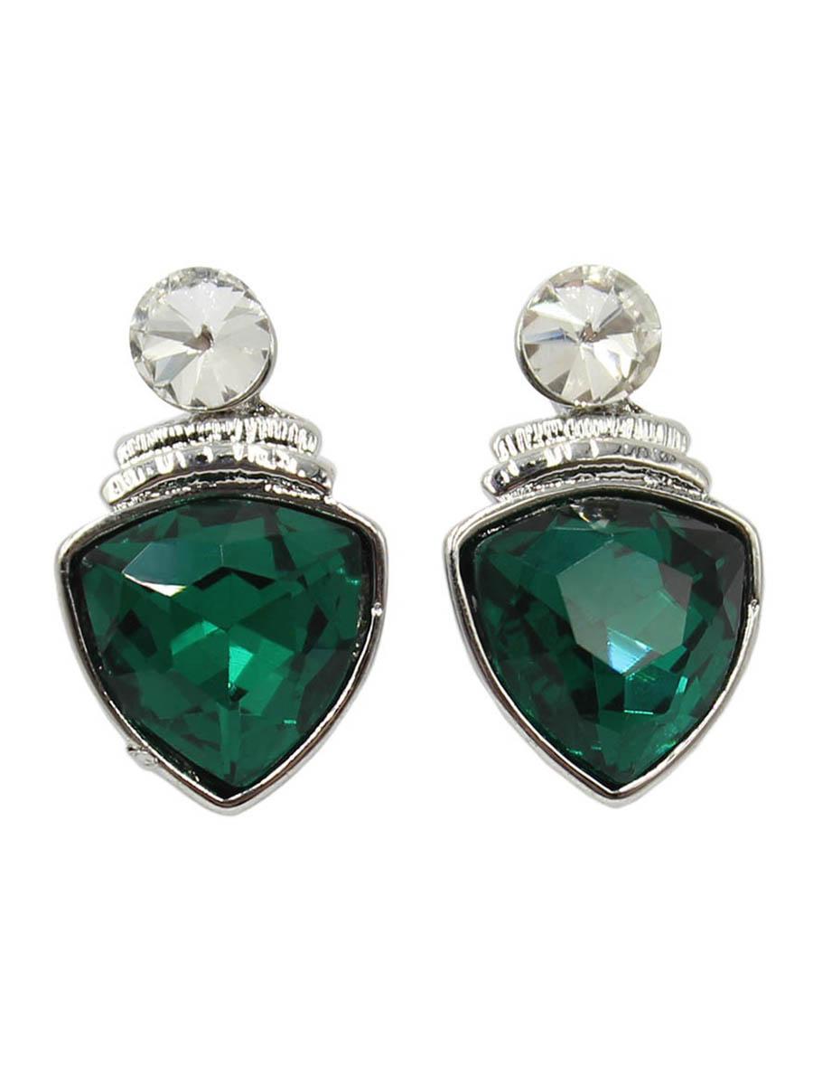Серьги Taya, цвет: серебристый, зеленый. T-B-12416T-B-12416-EARR-SL.GREENСерьги-гвоздики с заглушкой металл-пластик изготовлены из бижутерного сплава. Крупный прозрачный кристалл закрывает прокол в мочке уха. Ниже расположен ромб с темным кристаллом. Легкие удобные универсальные сережки на каждый день к любому наряду.