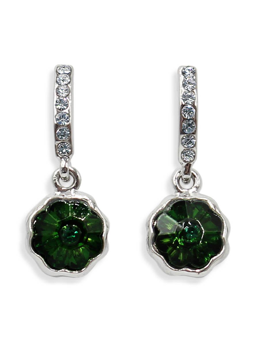 Серьги Taya, цвет: серебристый, зеленый. T-B-12428T-B-12428-EARR-SL.GREENСерьги-гвоздики с заглушкой металл-пластик изготовлены из бижутерного сплава. Маленькие, идеально нежные серьги выполнены в форме цветочков на подвеске. Цветочки оформлены сверкающими камушками.