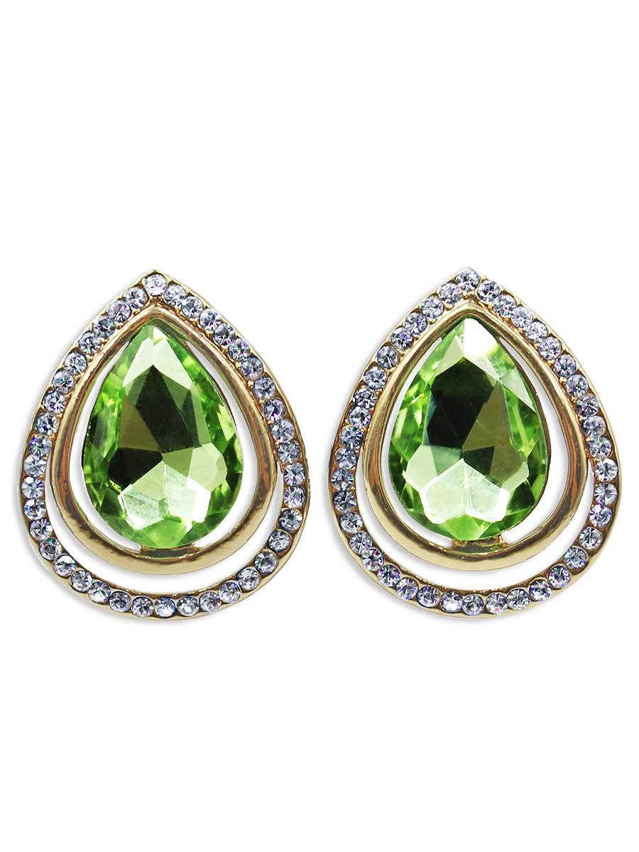 Серьги Taya, цвет: золотистый, светло зеленый. T-B-12434T-B-12434-EARR-GL.LT.GREENСерьги с английским замком. За счет нежного сочетание чуть тонированного золотого цвета и мятного кристалла украшение выглядит хрупко и по-девственному чисто. Размеры: длина 2,2 см, ширина 1,8 см.