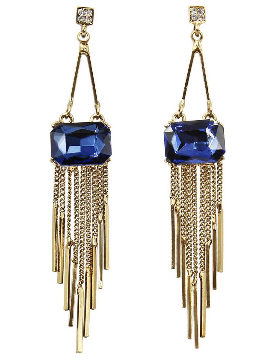 Серьги Taya, цвет: золотистый, темно синий. T-B-12436T-B-12436-EARR-GL.D.BLUEСерьги-гвоздики с заглушкой металл-пластик. Красивые длинные серьги в винтажном исполнении. Золото черненое, кристалл сапфирового цвета. Тонкие нежные цепочки плавно переходят в золотые столбики. Размеры: длина 7,9 см, кристалл 1,5 х 1,0 см
