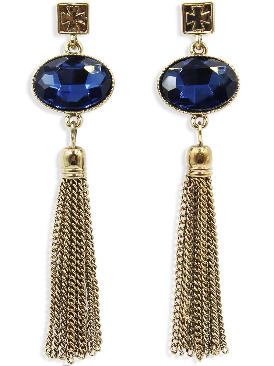Серьги Taya, цвет: темное золото. T-B-12443T-B-12443-EARR-D.GOLDСерьги-гвоздики с заглушкой металл-пластик изготовлены из бижутерного сплава. Серьги выполнены с оригинальными подвесками-кисточками которые крепятся к небольшим кристаллам.