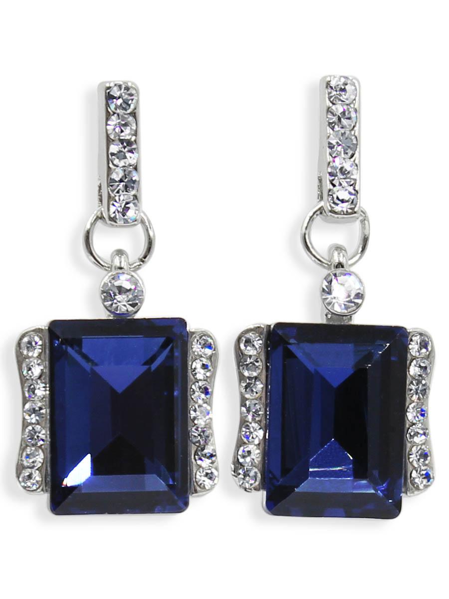 Серьги Taya, цвет: серебристый, темно синий. T-B-12468T-B-12468-EARR-SL.D.BLUEСерьги-гвоздики с заглушкой металл-пластик. Классическая форма с большим алмазным камнем по середине и спокойные тона делают эти серьги идеальными на каждый день.
