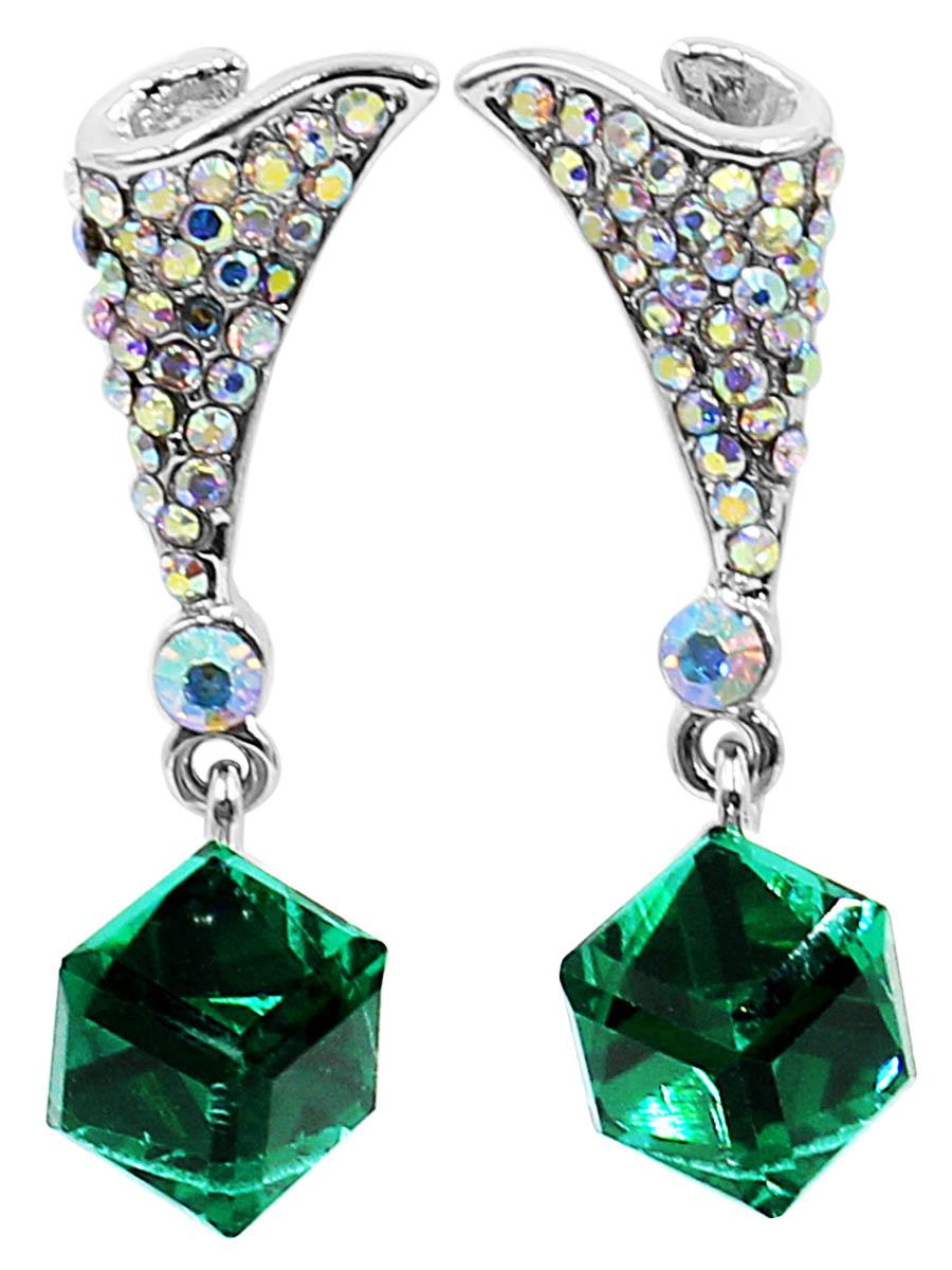 Серьги Taya, цвет: разноцветный, зеленый. T-B-12473T-B-12473-EARR-ML.GREENСерьги-гвоздики с заглушкой металл-пластик изготовлены из гипоаллергенного бижутерного сплава. Верхняя часть виде платочка, собранного на конус и усыпанного радужными стразами. Нижний кубик ярко-зеленый и полупрозрачный.