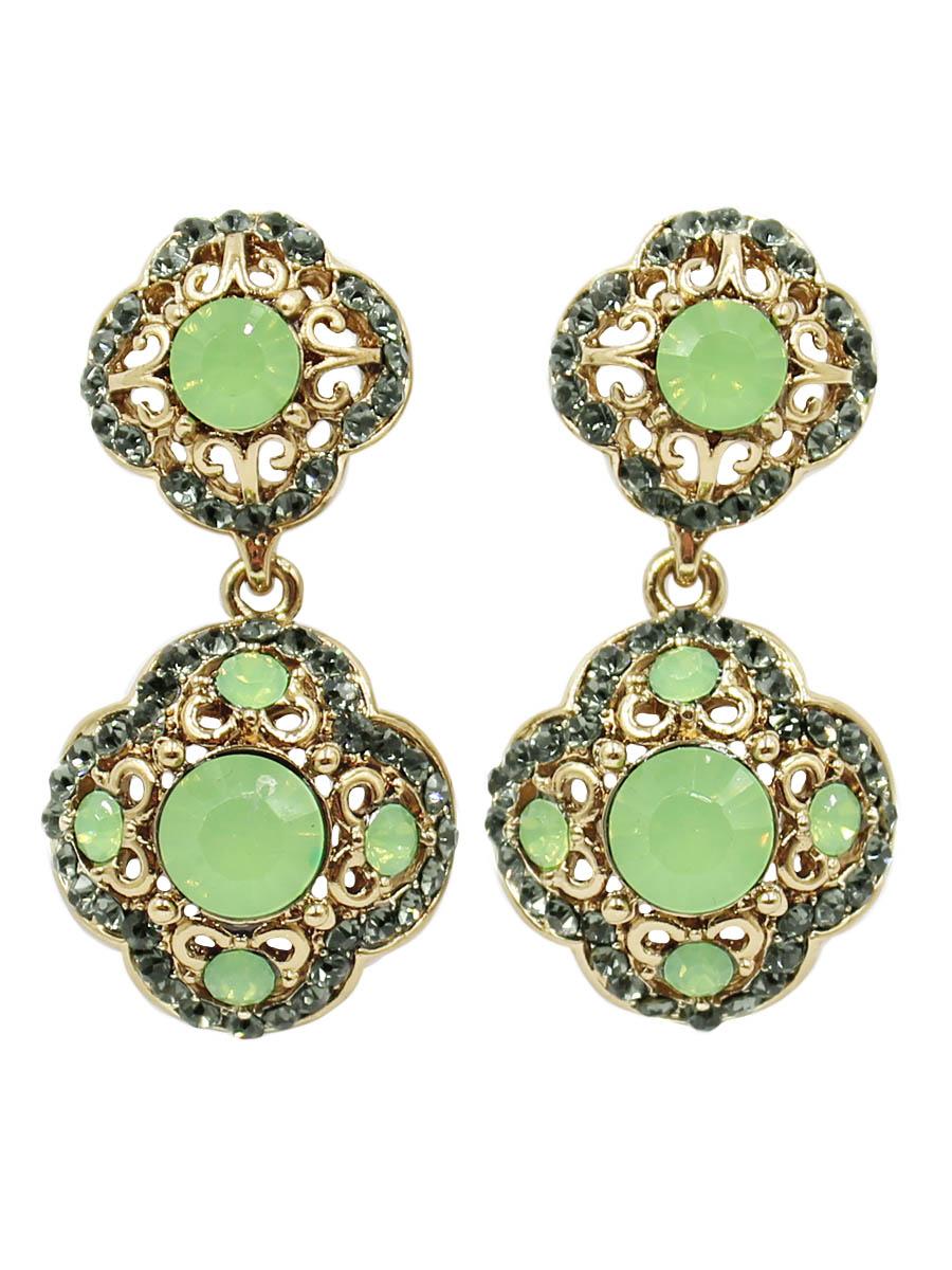 Серьги Taya, цвет: золотистый, светло зеленый. T-B-12494T-B-12494-EARR-GL.LT.GREENСерьги-гвоздики с заглушкой металл-пластик. Два объемных цветка с резными лепестками и мятными кристаллами.