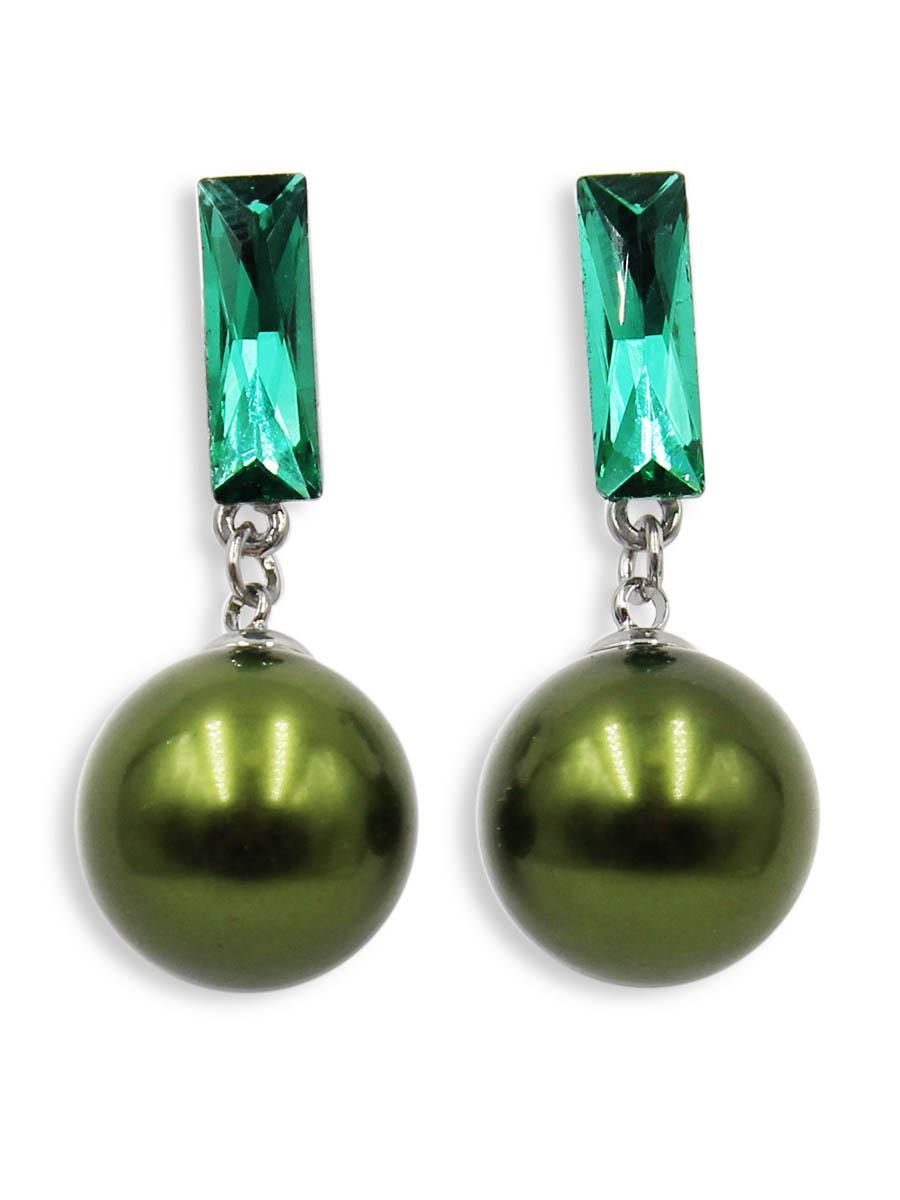 Серьги Taya, цвет: темно зеленый. T-B-12497T-B-12497-EARR-D.GREENСерьги-гвоздики с заглушкой металл-пластик. Вызывающее сочетание болотного и мятного цветов порадует любительниц оригинальных изделий. Размеры: длина 3,7 см, диаметр жемчуга 1,5 см.