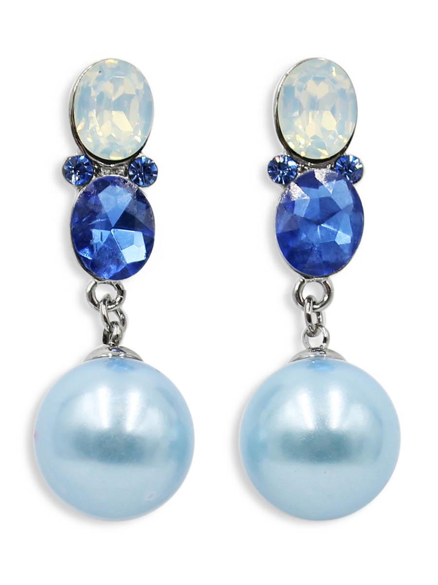 Серьги Taya, цвет: синий. T-B-12499T-B-12499-EARR-BLUEСерьги-гвоздики Taya с заглушкой металл-пластик. Нежные серьги оформлены большими камнями и на цепочках оригинально прикреплены шарики.