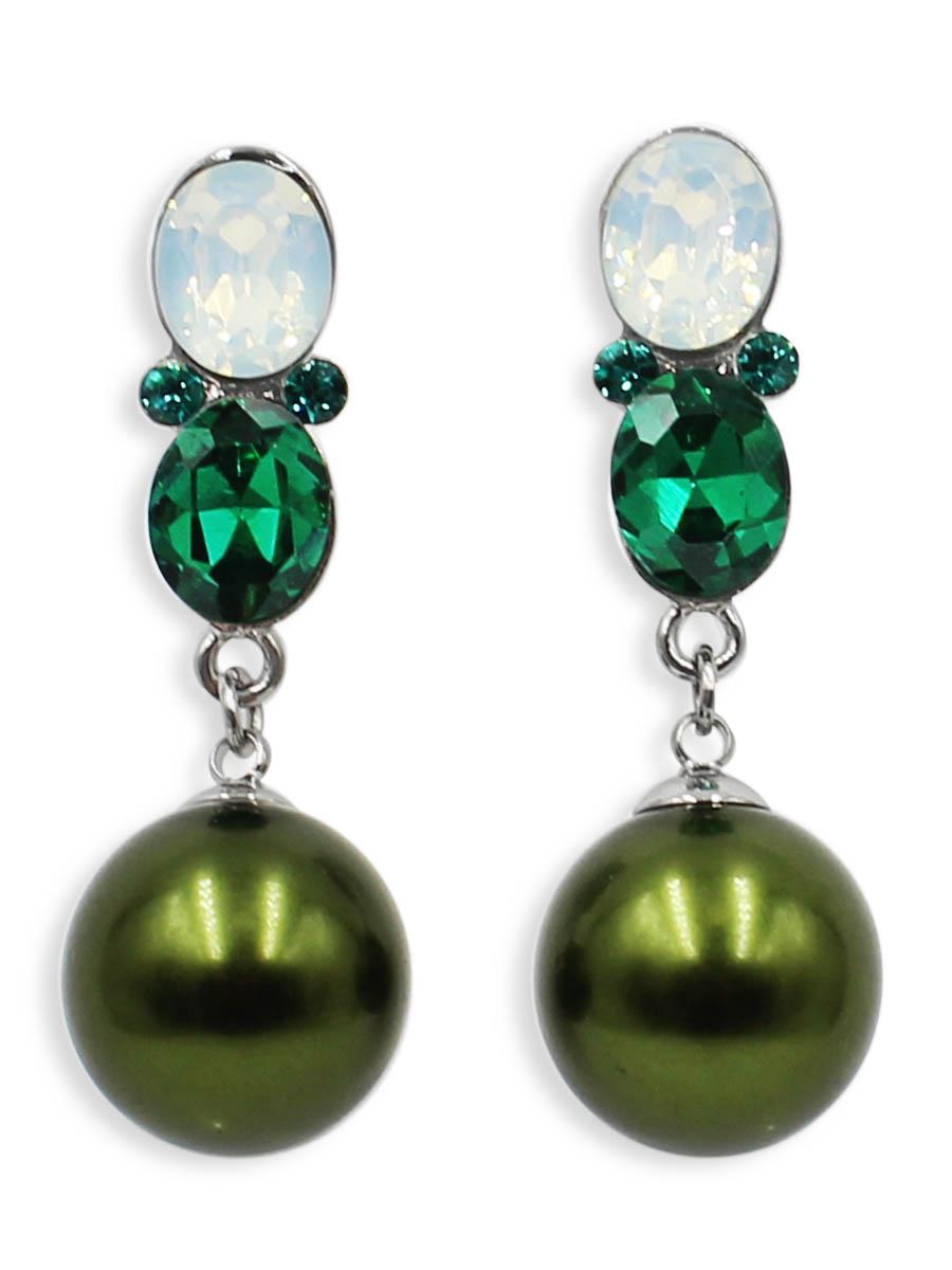 Серьги Taya, цвет: темно зеленый. T-B-12500T-B-12500-EARR-D.GREENСерьги-гвоздики Taya с заглушкой металл-пластик. Нежные серьги оформлены большими камнями и на цепочках оригинально прикреплены шарики.