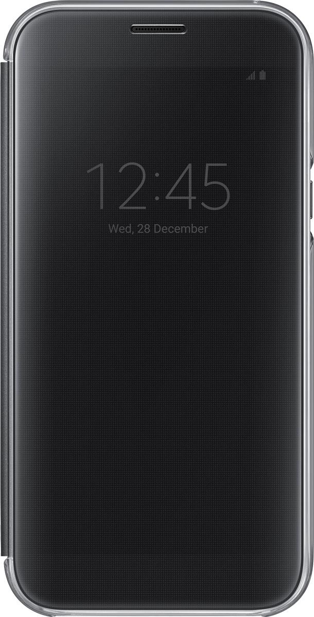 Samsung EF-ZA720 ClearView чехол для Galaxy A7 (2017), BlackEF-ZA720CBEGRUSamsung ClearView, созданный специально для модели смартфона Galaxy A7 (2017), позволяет идти в ногу со временем и является одной из разновидностей умных чехлов. Чехол надежно защищает смартфон со всех сторон, включая экран, от царапин, пыли и повреждений. При этом защиту экрана обеспечивает прозрачная крышка из оргстекла, покрытого лаком. Она настолько функциональна, что сквозь нее виден весь дисплей целиком. Так вы всегда будете в курсе происходящего: новостей, времени, погоды, входящих сообщений и уведомлений. Чехол на страже вашего времени - при звонке не нужно открывать чехол - прозрачная лаковая поверхность чехла реагирует на прикосновения и позволяет вам ответить на важные звонки, не открывая крышки смартфона.