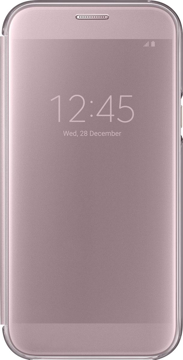 Samsung EF-ZA720 ClearView чехол для Galaxy A7 (2017), PinkEF-ZA720CPEGRUSamsung ClearView, созданный специально для модели смартфона Galaxy A7 (2017), позволяет идти в ногу со временем и является одной из разновидностей умных чехлов. Чехол надежно защищает смартфон со всех сторон, включая экран, от царапин, пыли и повреждений. При этом защиту экрана обеспечивает прозрачная крышка из оргстекла, покрытого лаком. Она настолько функциональна, что сквозь нее виден весь дисплей целиком. Так вы всегда будете в курсе происходящего: новостей, времени, погоды, входящих сообщений и уведомлений. Чехол на страже вашего времени - при звонке не нужно открывать чехол - прозрачная лаковая поверхность чехла реагирует на прикосновения и позволяет вам ответить на важные звонки, не открывая крышки смартфона.