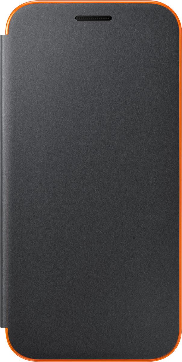 Samsung EF-FA320 FlipCover Neon чехол для Galaxy A3 (2017), BlackEF-FA320PBEGRUЧехол Neon Flip Cover создан для качественной защиты смартфона Samsung Galaxy A3 (2017) с учетом его особенностей. Он плотно прилегает к девайсу и защищает от пыли и царапин. Чехол выполнен из материалов высокого качества, приятен на ощупь, не увеличивает габаритов смартфона, подчеркивая его тонкую форму и современный стиль.