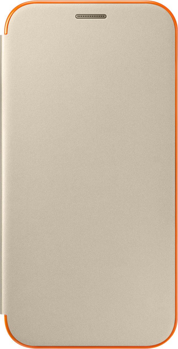 Samsung EF-FA720 FlipCover Neon чехол для Galaxy A7 (2017), GoldEF-FA720PFEGRUЧехол Neon Flip Cover создан для качественной защиты смартфона Samsung Galaxy A7 (2017) с учетом его особенностей. Он плотно прилегает к девайсу и защищает от пыли и царапин. Чехол выполнен из материалов высокого качества, приятен на ощупь, не увеличивает габаритов смартфона, подчеркивая его тонкую форму и современный стиль.