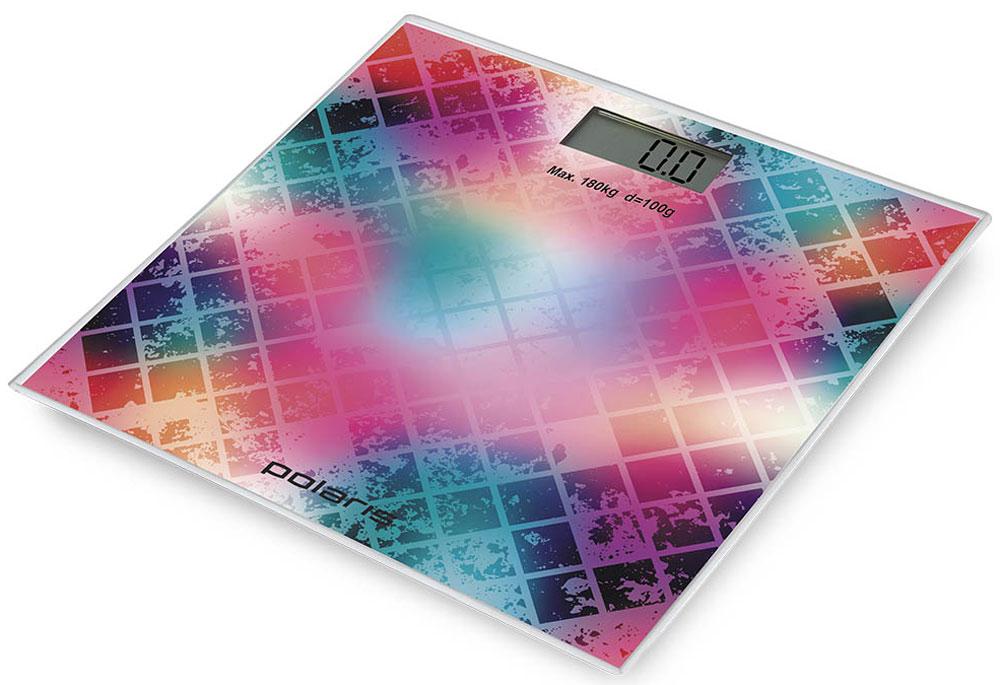 Polaris PWS 1853DG Mosaic напольные весы7231Polaris PWS 1853DG - напольные весы, выполненные в стильном дизайне. Одновременно с этим вас удивит и функциональность данного устройства: теперь вы легко сможете контролировать свой вес, а значит, вести здоровый образ жизни. Для вашего удобства в весах предусмотрена возможность с высокой точностью определять массу тела в килограммах, фунтах и унциях. Платформа данной модели выполнена из высокопрочного закаленного стекла, что позволит использовать весы годами и не переживать за их сохранность. Максимально допустимый вес - 180 кг. Все данные отобразятся на удобном жидкокристаллическом дисплее. Для того, чтобы сохранить заряд батареи в весах используется функция автоматического отключения.
