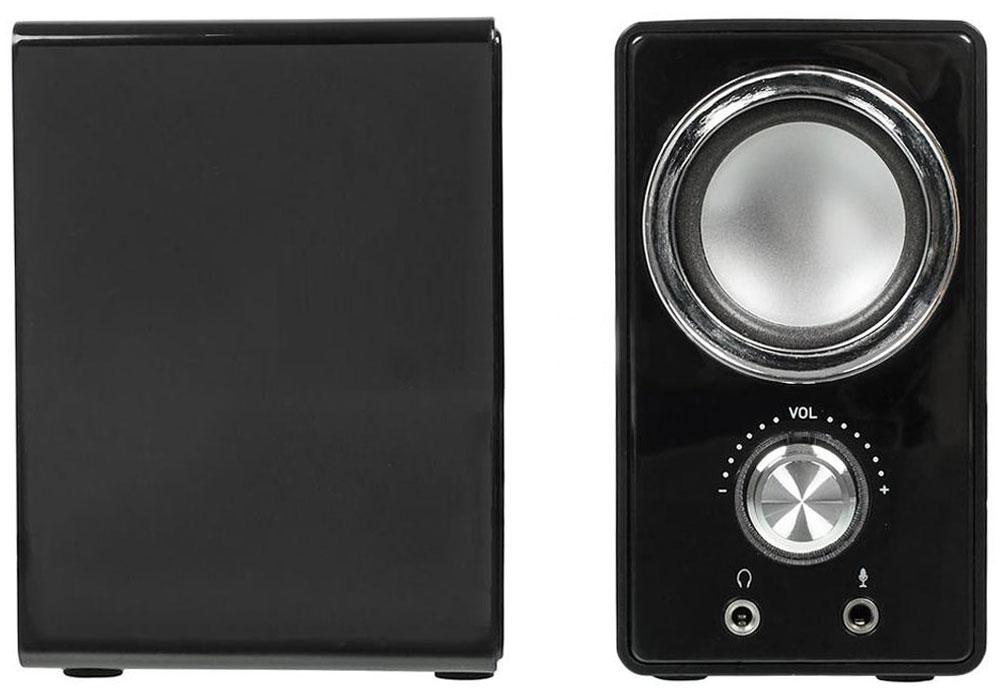 Oklick OK-116, Black акустическая система315691Oklick OK-116 - компактная акустическая система с общей выходной мощностью 6 Вт. Питание осуществляется через подключение к USB-порту. На передней панели активной колонки расположена кнопка включения питания, совмещенная с регулятором громкости, а также разъемы для подключения наушников и микрофона. Декоративное светодиодное кольцо вокруг регулятора громкости сигнализирует синим свечением о правильном включении системы. Oklick OK-116 рекомендуются для использования с ноутбуками, ПК и другими звуковоспроизводящими устройствами.