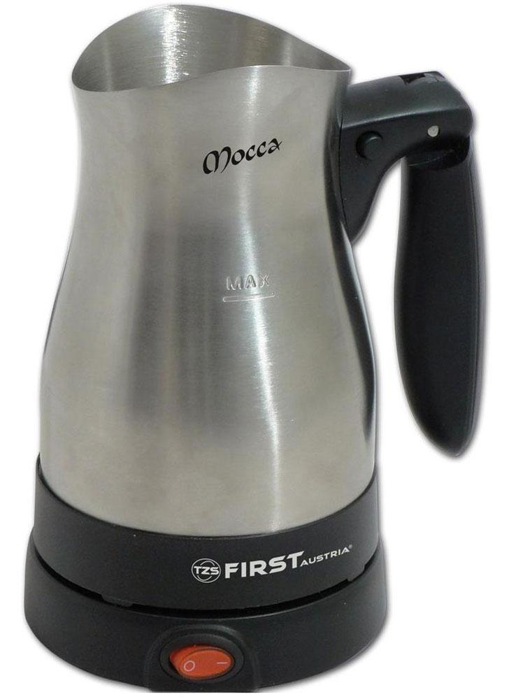First FA-5450-1 кофеварка-туркаFA-5450-1По своему строению, кофеварка-турка First FA 5450-1 похожа на электрочайник без крышки. В ее чашу засыпается кофе, сахар, специи, затем заливается вода. Смесь доводится до момента кипения, после чего прибор снимается с подставки, тем самым прекращая работу. Процедура может повторяться несколько раз. Потребляемая мощность электротурки позволяет вскипятить напиток немногим более трех минут. По типу нагревательного элемента, модель относится к дисковому (скрытому) типу. Преимуществом дискового типа над спиральным, является высокая площадь контакта с водой и скорость ее нагревания. На корпусе First FA 5450-1 есть отметка максимального уровня воды. Сетевой кабель подведен к подставке, а беспроводная чаша вращается на 360°. Это достигается с помощью специальных круглых контактов в подставке и днище. Кнопка включения/выключения прибора находится на подставке. В нее встроен световой индикатор питания. При недостаточном уровне воды или ее полном выкипании, предусмотрена...