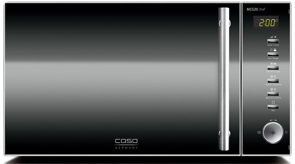 CASO MCG 20 Chef СВЧ-печьMCG 20 ChefCASO MCG 20 - стильная СВЧ-печь в оригинальном черно-серебристом корпусе. Зеркальная передняя панель подчеркивает изящество дизайна. Данная модель имеет внутреннее освещение и удобное электронное управление для максимально комфортной эксплуатации. Множество автоматических программ, а также таймер со звуковым сигналом также поможет быстро и просто приготовить то или иное блюдо. Автоматических программ: 16 Конвекция: 10 уровней, 110-200 °C Возможность отключения звукового сигнала Таймер: 95 мин