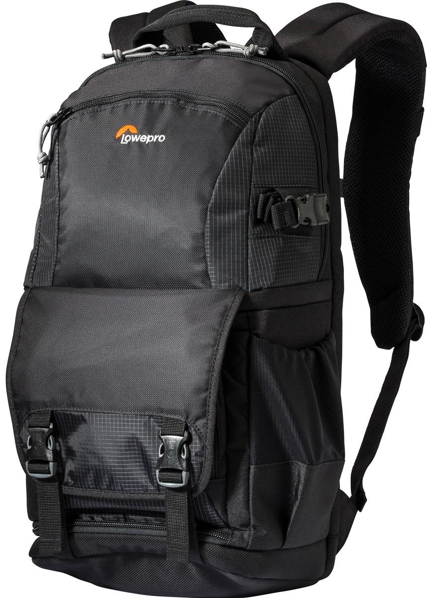 Lowepro Fastpack BP 150 AW II, Black рюкзак для фотоаппаратаLP36870-PRUОбновленный рюкзак Lowepro Fastpack BP 150 AW II отличается оптимальным дизайном для фотографов- путешественников и возможностью гибкой трансформации внутреннего пространства в один из возможных вариантов использования. В данной серии рюкзаки получили дополнительную защиту благодаря всепогодному защитному чехлу AW Weather Cover, крепление для переноски штатива. В результате в сочетании с сохранением особенностей дизайна, присущей предыдущей серии, - наличие трех отделений (для камеры и аксессуаров, для ноутбука или планшета, для личных вещей),а также возможность убрать перегородки и использовать рюкзак как обычный туристический - усовершенствованная серия представляет собой законченный оптимальный вариант для фотографа, который ценит возможности трансформаций и комбинирования. Удобный и быстрый доступ к технике: оптимальный дизайн фото-отсека и два варианта доступа : сбоку или через полностью открывающееся основное отделение с регулирующимися...