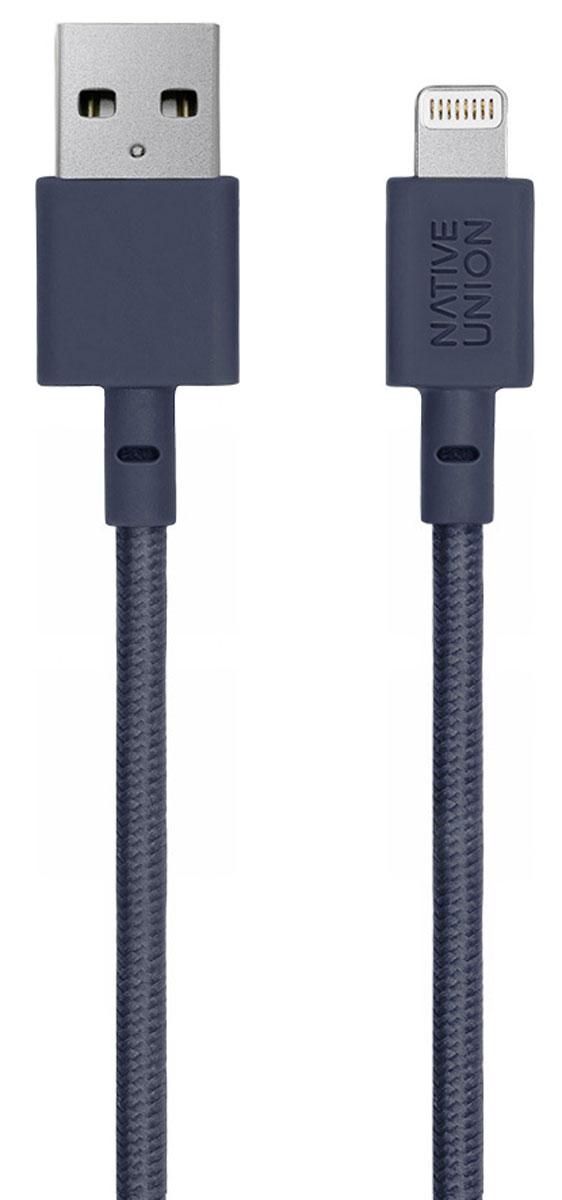 Native Union Belt, Blue кабель Apple Lightning (1,2 м)BELT-L-MAR-2Native Union Belt Cable - это уникальный аксессуар, который создан с целью подчеркнуть вашу индивидуальность. Кабель с тканевой оплеткой оснащен специальным кожаным ремешком, который предотвращает спутывание и увеличивает срок службы кабеля, не позволяя ему перегибаться. Сертификация Apple MFI.