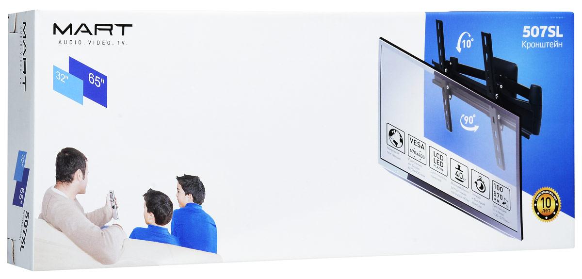 Mart 507SL, Black кронштейн для ТВ1255430Mart 507SL - надежный кронштейн для вашего телевизора. Максимальная нагрузка составляет 40 кг, а угол наклона до 10°. Данный кронштейн поможет организовать пространство в гостиной или любой другой комнате. Ведь гораздо удобнее, когда телевизор установлен не на столе или тумбе, а на стене.