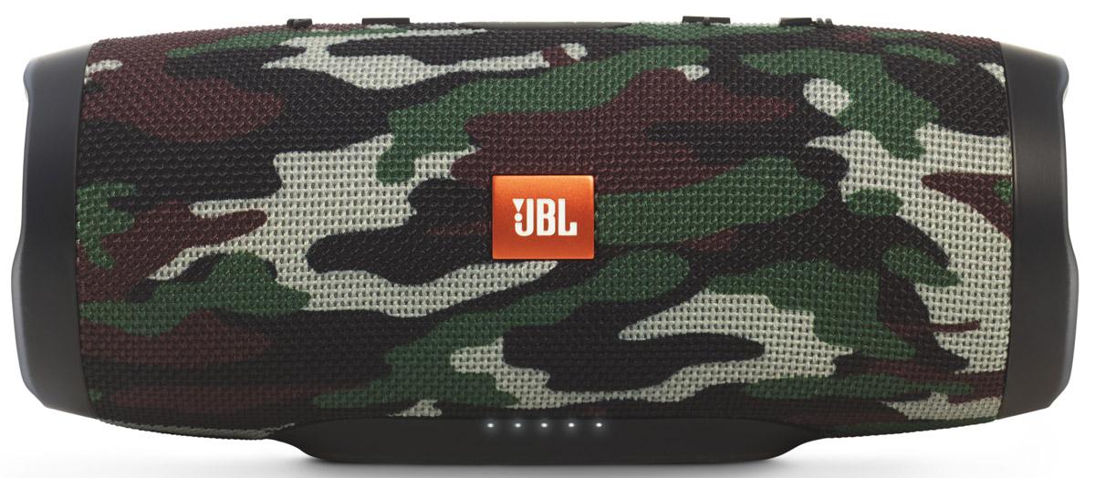 JBL Charge 3, Camouflage портативная колонкаБ0028466Уникальная беспроводная портативная акустическая система JBL Charge 3 гарантирует мощный стерео-звук и источник энергии в одном устройстве. Благодаря водонепроницаемому прорезиненному тканевому корпусу вечеринку с Charge 3 можно устроить в любом месте - у бассейна и даже под дождем. Аккумулятор высокой емкости на 6000 мАч гарантирует бесперебойную работу в течение 15 часов и позволяет заряжать смартфоны и планшеты по USB. Встроенный микрофон с шумо- и эхоподавлением гарантирует идеально чистый звук во время телефонных разговоров по нажатию одной кнопки. Подключайте дополнительные колонки с поддержкой JBL Connect по беспроводному соединению для еще более мощного звука.